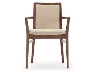 Godiva-P1, Wooden chair with armrests, padded