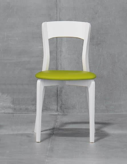 ISOTTA, Chair with padded seat, ash or beech wood structure