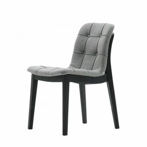 Light 03211K, Modern chair in solid wood, with quilted shell