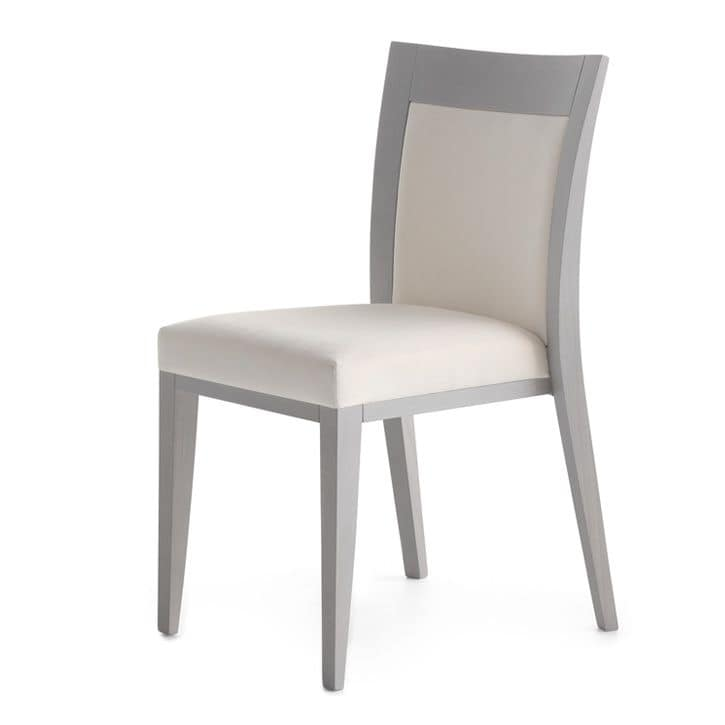 Logica 00912, Stackable chair, padded and with wooden structure