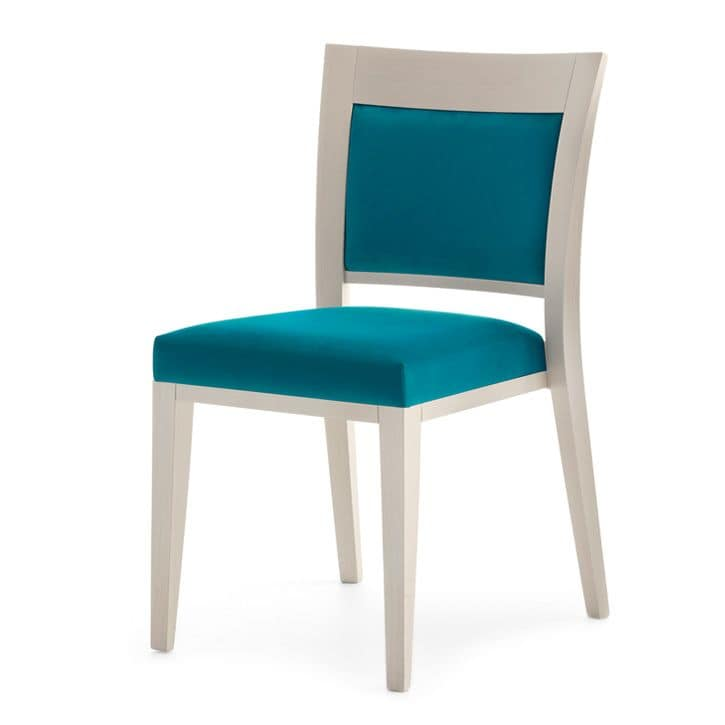 Logica 00917, Stackable chair, upholstered seat and back, wood structure