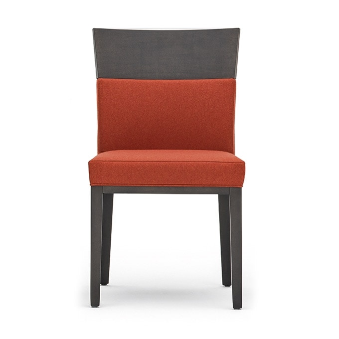 Logica 00930, Chair in solid wood, upholstered seat and back, for contract use