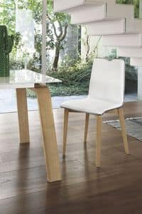 LOSANNA SE05, Chair with solid wood frame, upholstered seat and back, for modern style