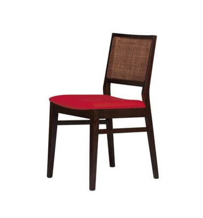 M03, Modern chair with beech base, cane back