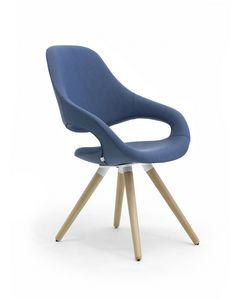 Samba Plus 4G wood, Modern chair with 4 tapered wood legs