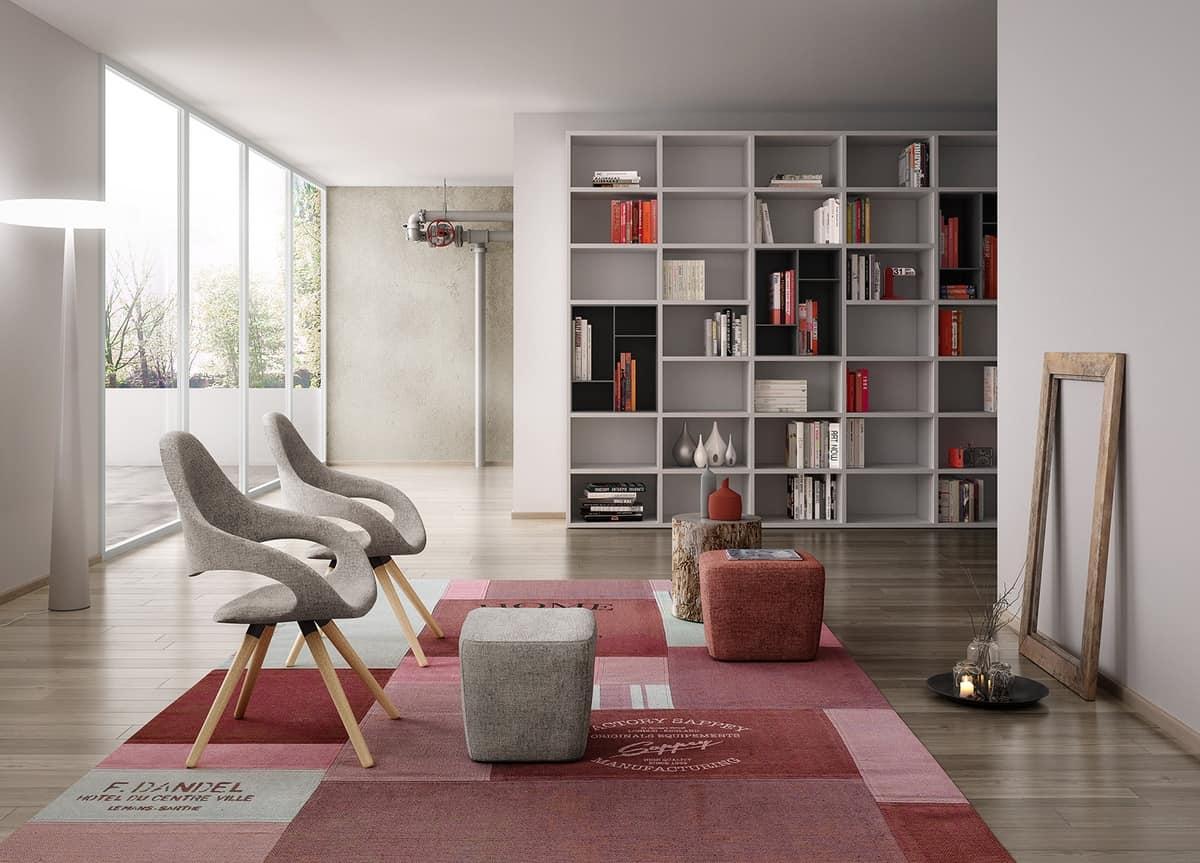 Samba Plus 4G wood, Modern chair with 4 tapered wood legs
