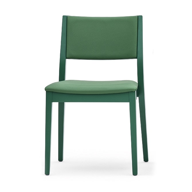 Sintesi 01512, Chair in solid wood, upholstered back and seat, modern style