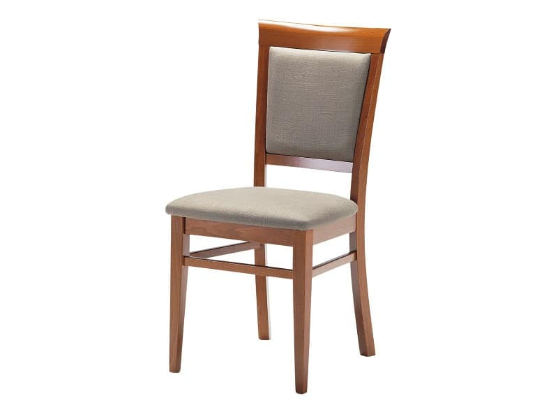 Sirai, Wooden chair with padded seat and backrest, for living rooms