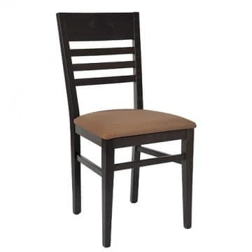 230 B, Chair with horizontal slatted backrest, padded seat