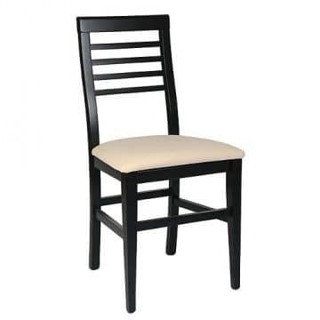 314 BIS, Beech chair, upholstered seat, Horizontal slats back