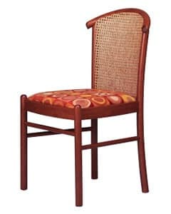 407 C, Chair with cane back, in beech, for ice cream parlor