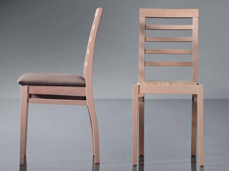 ART. 135 HARMONY, Dining chair, linear, in beech, for contract use