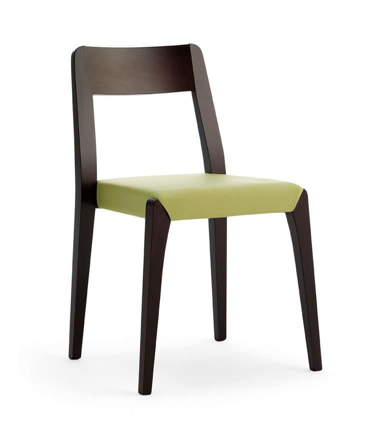 Cotton, Stackable chair in beech wood for bar and hotel