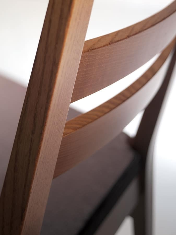 DENISE, Linear wooden chair, upholstered seat