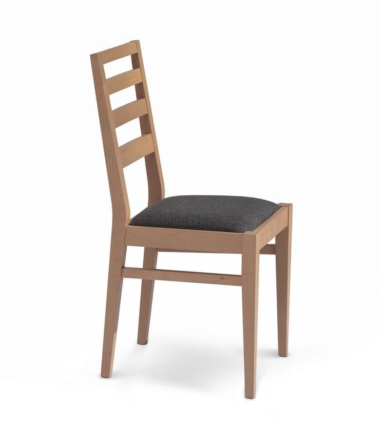 Giada 5, Padded chair with backrest with horizontal slats of wood