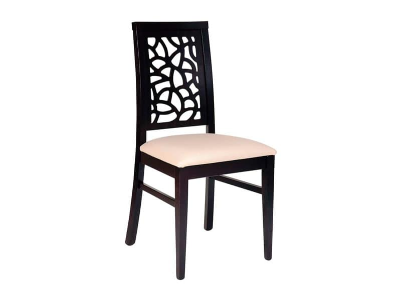 Samoa, Wood chair, upholstered seat, back perforated