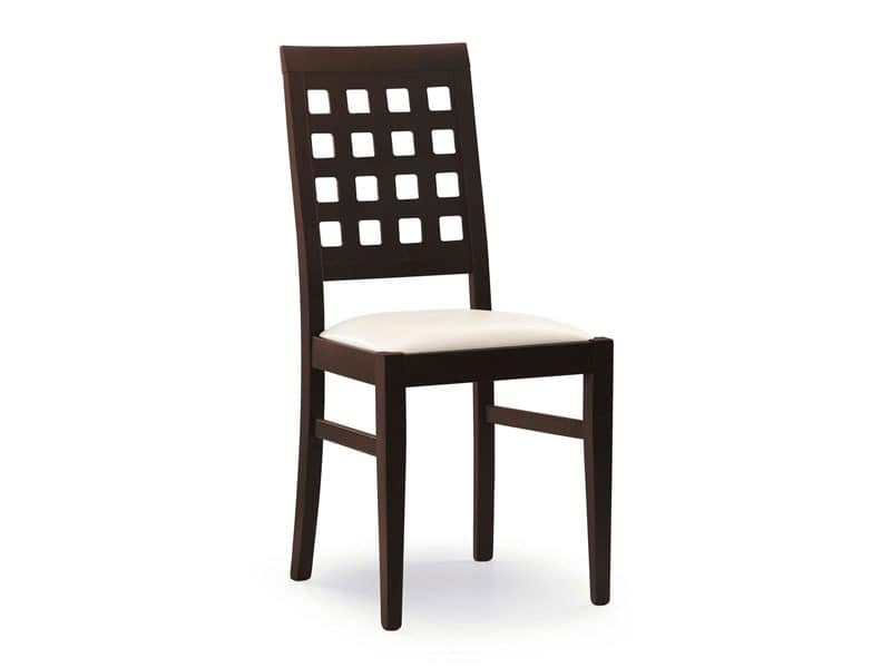 Sara, Chair with padded seat, back with square holes