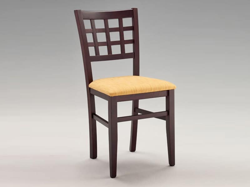 SE 427, Chair with padded seat, back with squares, for restaurant