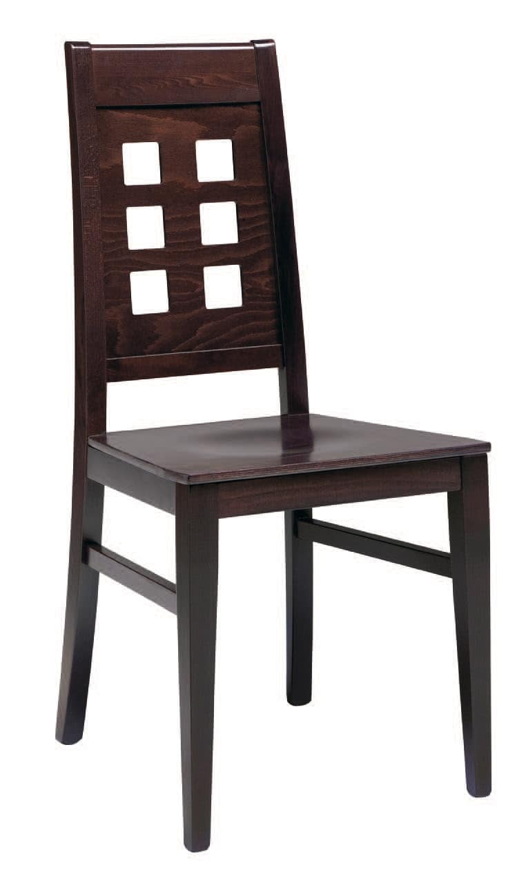SE 490 / B, Wooden chair, upholstered seat, backrest with holes