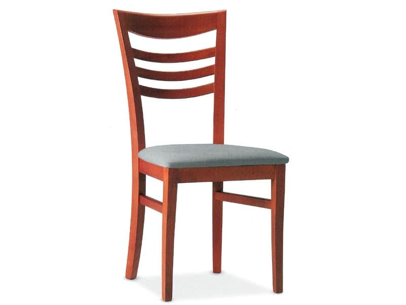 SVEVA, Wooden chair with padded seat, for contract use
