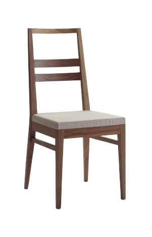 Us Denise, Wooden chair for home, chair with upholstered seat for restaurants