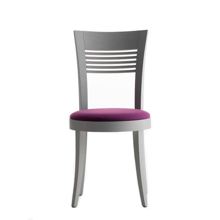Vienna 01312, Chair in solid wood, upholstered seat, fabric covering, for contract use