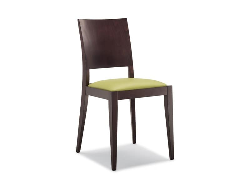 160, Wooden chair, padded seat, for restaurants