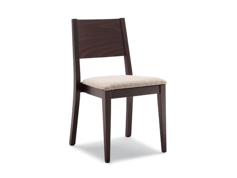 162, Chair with wooden smooth back, for breakfast room