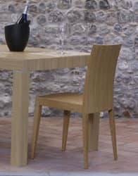 331 L, Linear dining chair, in beech, for bars