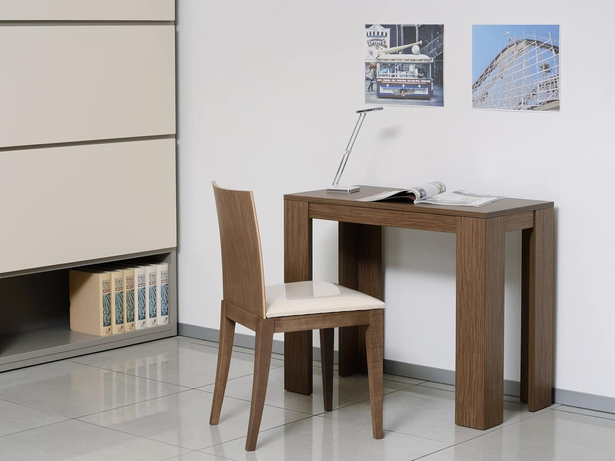 Complementi Sedia 04, Chair with padded seat and backrest in solid wood