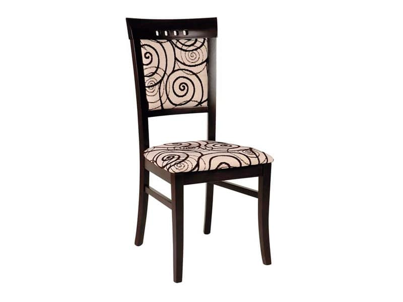 Creta, Wooden dining chair, upholstered with fabric decorated