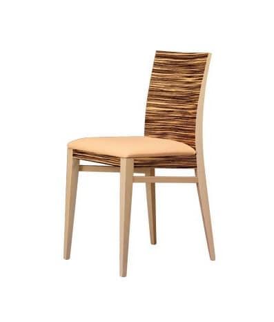 M14, Chair in beech wood, with backrest Zebrano veneered