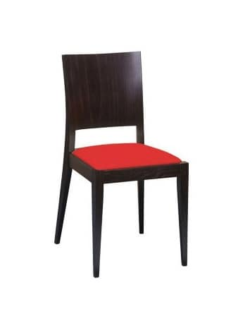 M15, Beech chair, upholstered seat, for contract use