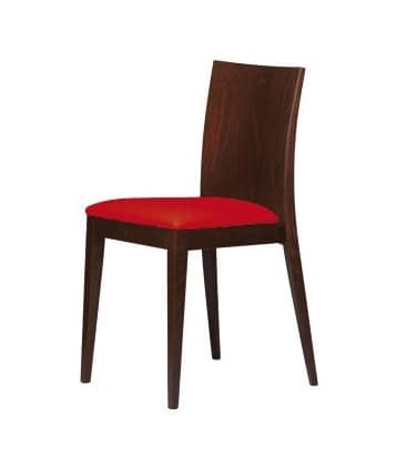 M16, Wooden chair, padded seat, for bars and restaurants