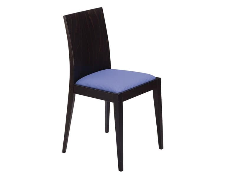 Masha/S, Wooden chair with padded seat for bars and restaurants
