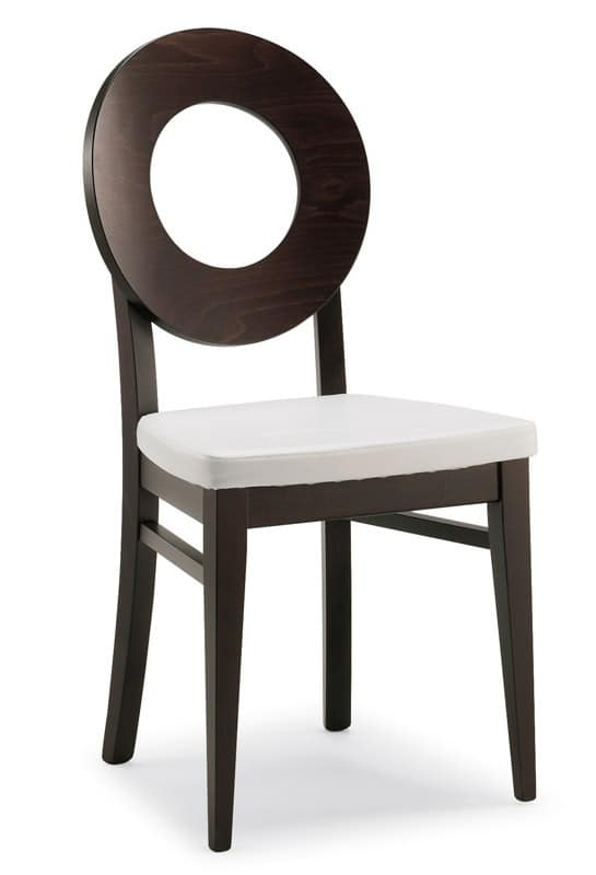 SE 47 / U, Wooden chair, covered in faux leather, modern style, for dining rooms