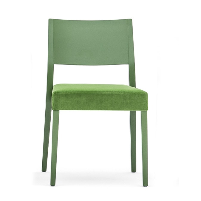 Sintesi 01513, Chair in solid wood, upholstered seat, modern style