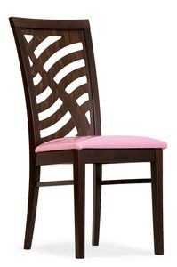 Tessa, Wooden chair with decorative backrest