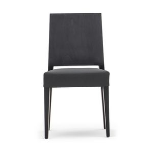 Timberly 01711, Stackable chair, solid wood frame, upholstered seat, leather covering, for dining rooms