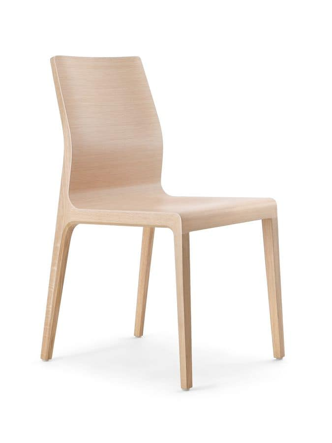 Wave, Modern chair with shell in curved plywood