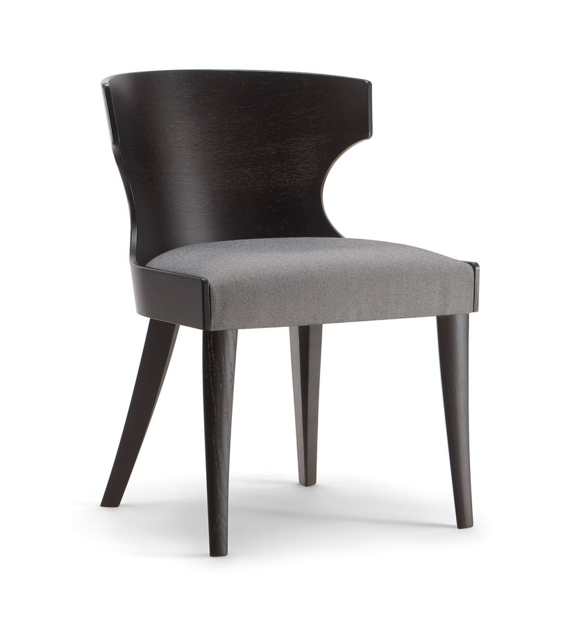 XIE SIDE CHAIR 052 S, Wooden chair with enveloping backrest