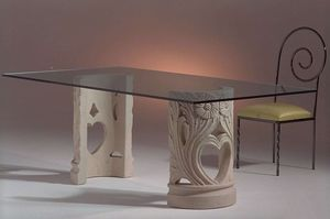 Amos, Dining table with double decorated base