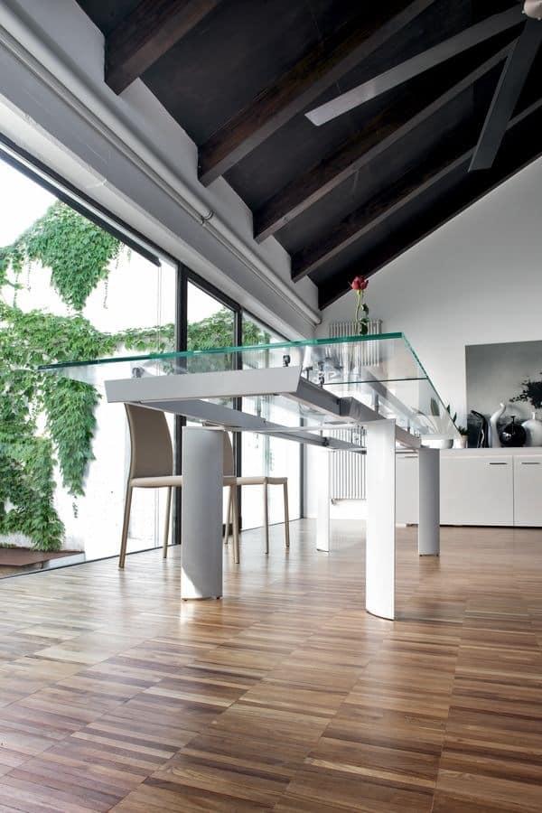 ARCOS, Extending table, glass top, aluminum legs