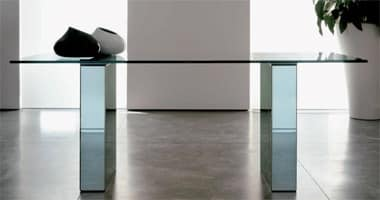 Area, Dining table with glass top, lacquered structure