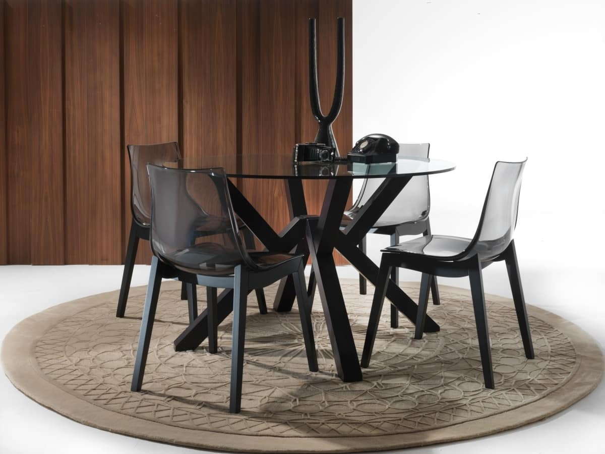 Art. 645 Teorema, Round dining table with glass top