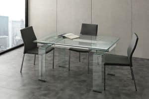 Art. 676/2 Miniglass, Extending table, for meeting and living rooms