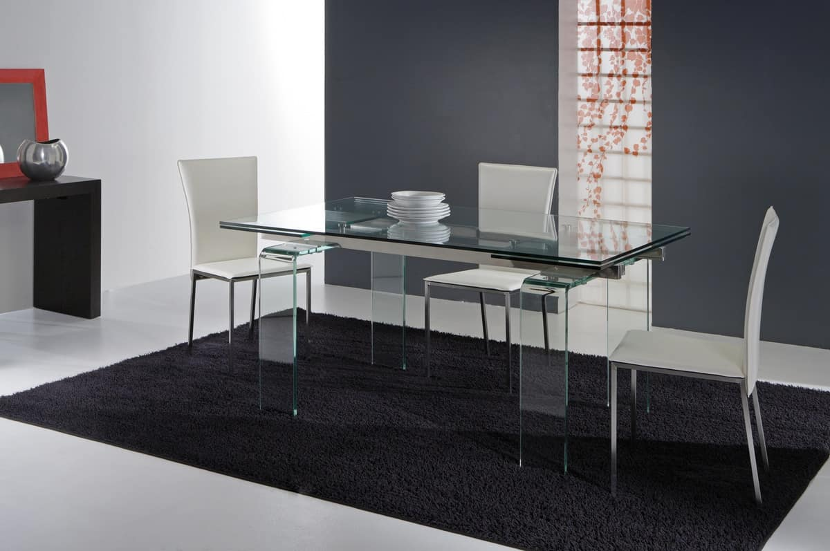 Art. 676 Glass, Table with legs and extendable glass top