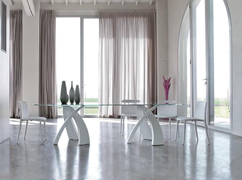 BIG ELISEO, Table with double base and top in glass, wood or ceramic