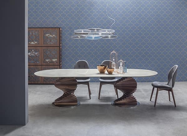 BIG FIRENZE, Table with double base and top in glass or ceramic