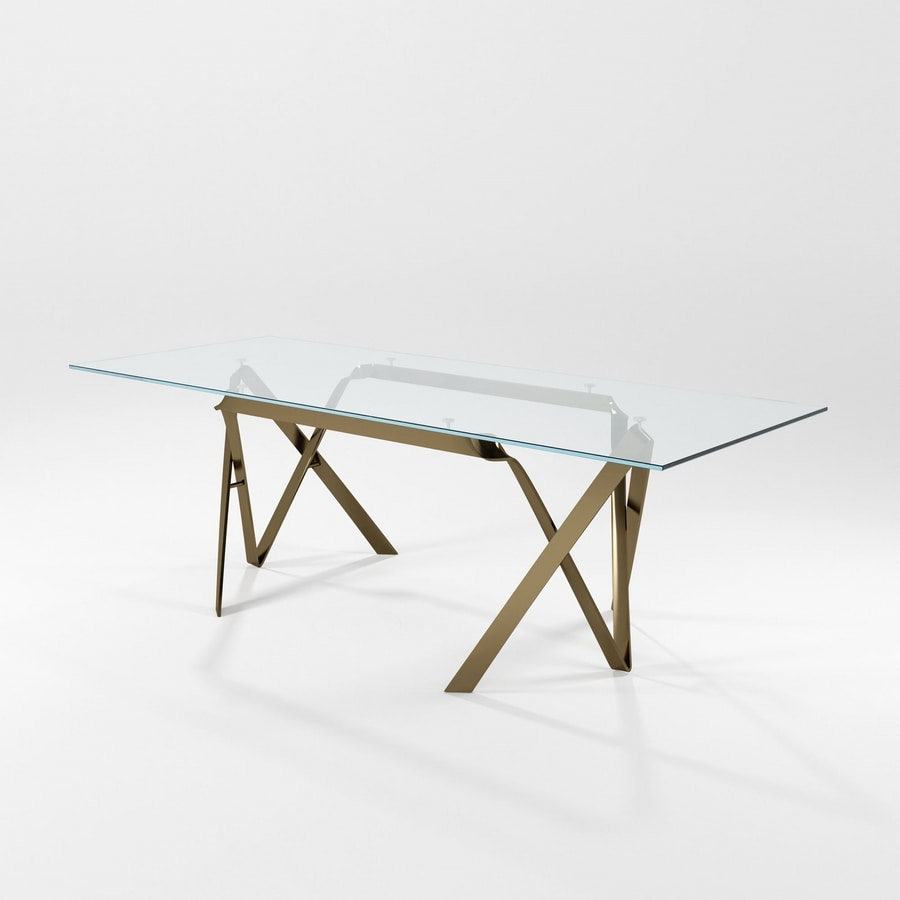 Compasso, Modern table with glass top and iron blade structure